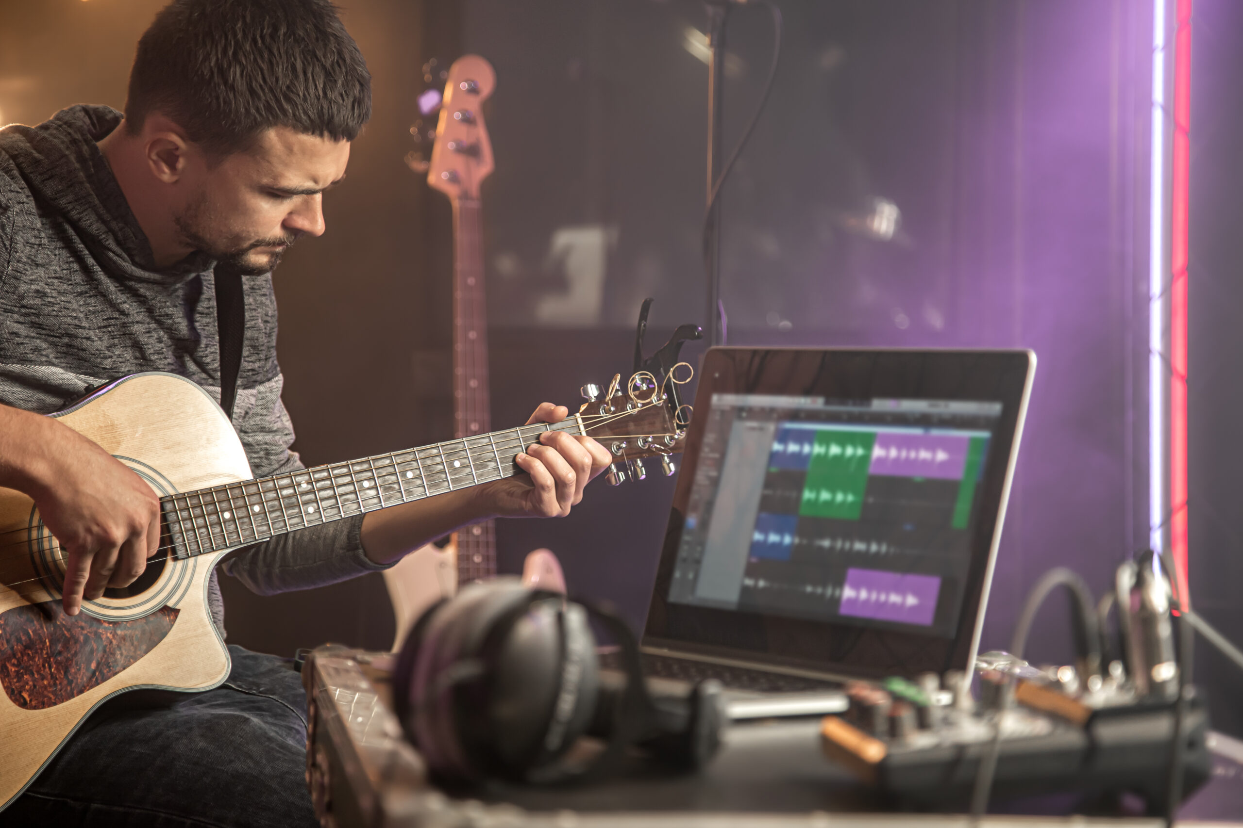 session musician working in studio