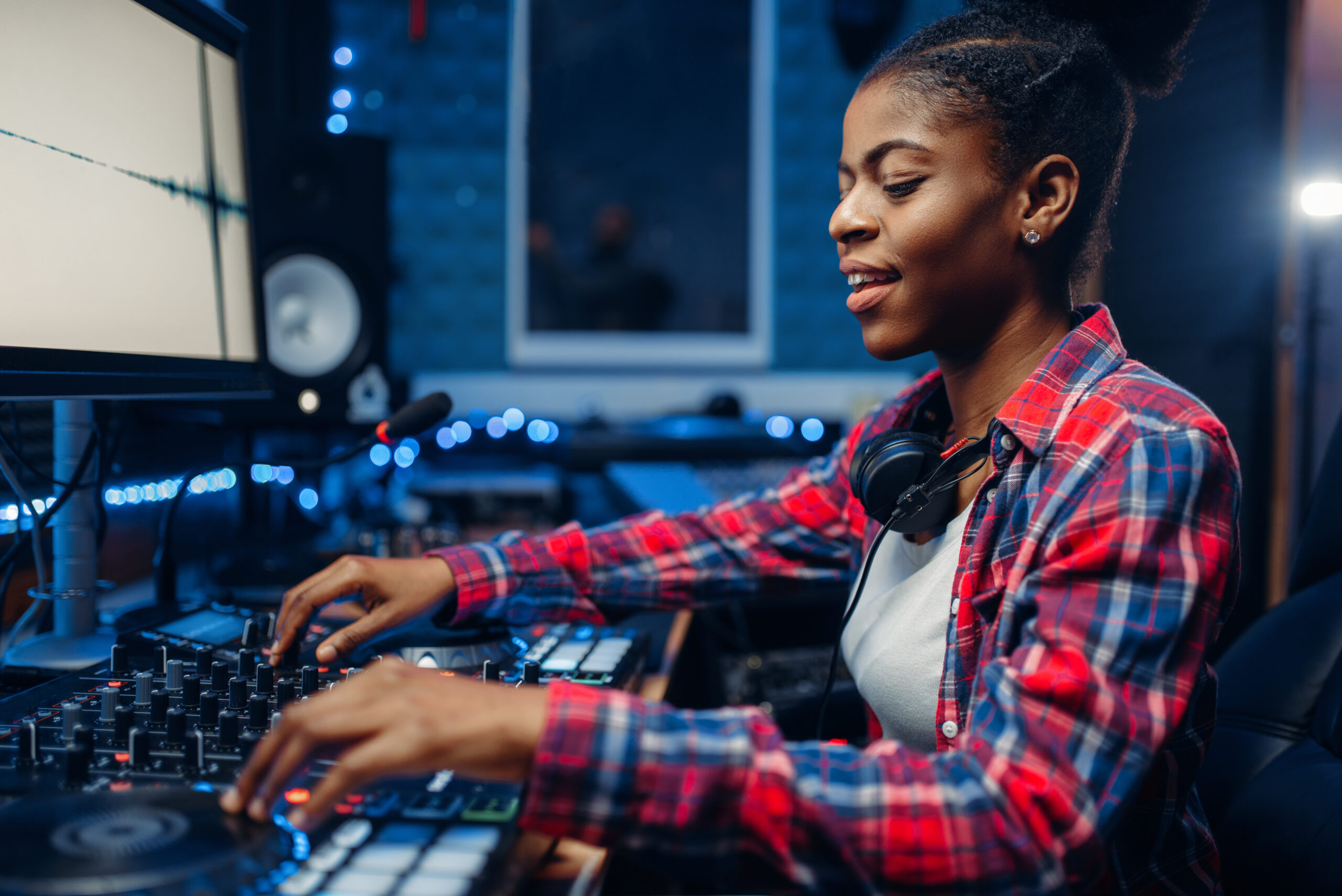 Woman recording in the studio