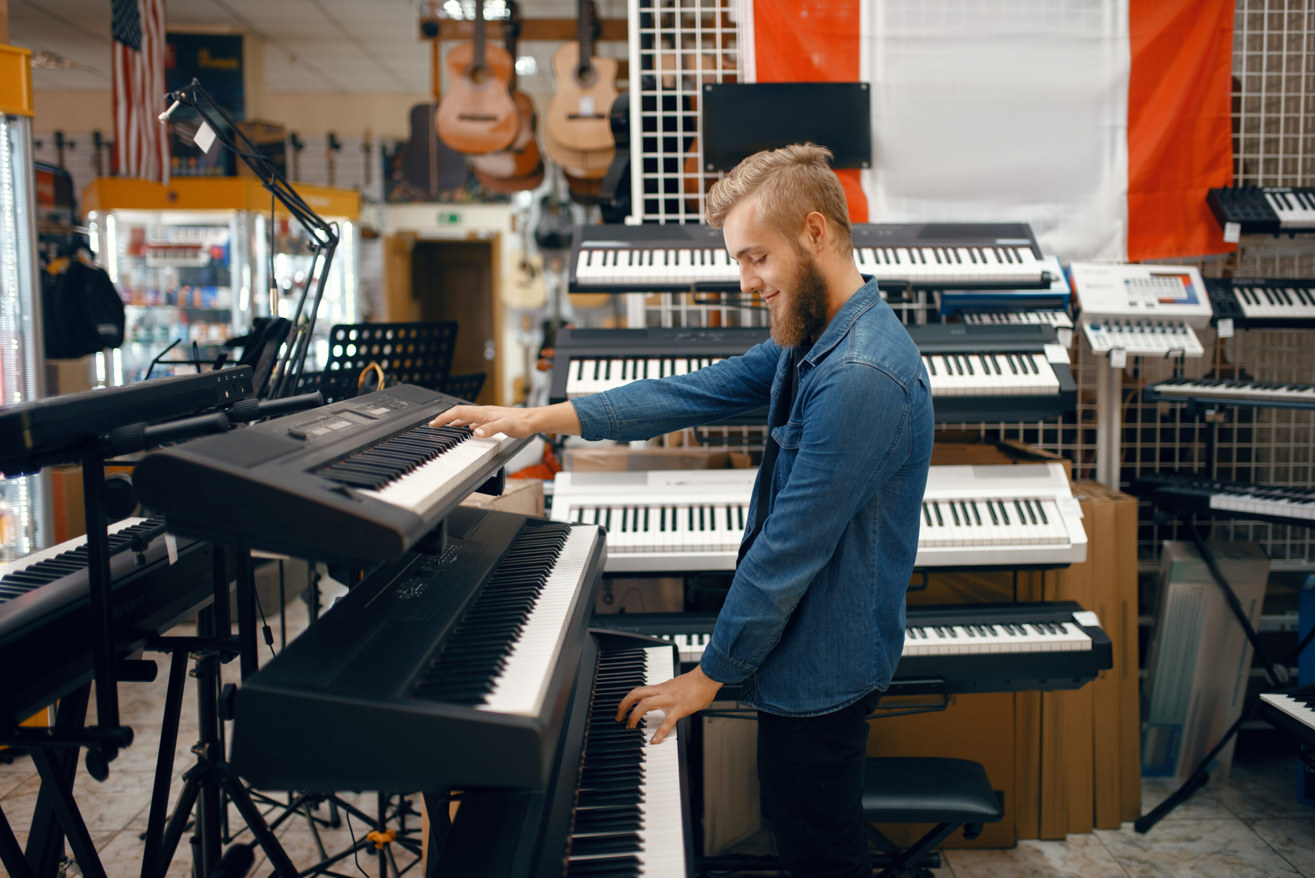 synth in music studio
